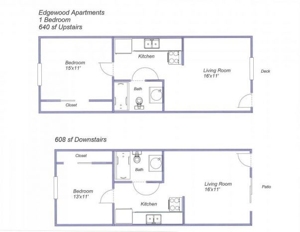 Edgewood Apartments 1-bedroom floor plan
