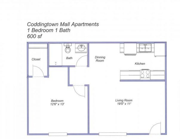 Coddingtown Mall Apartments 1-Bedroom floor plan